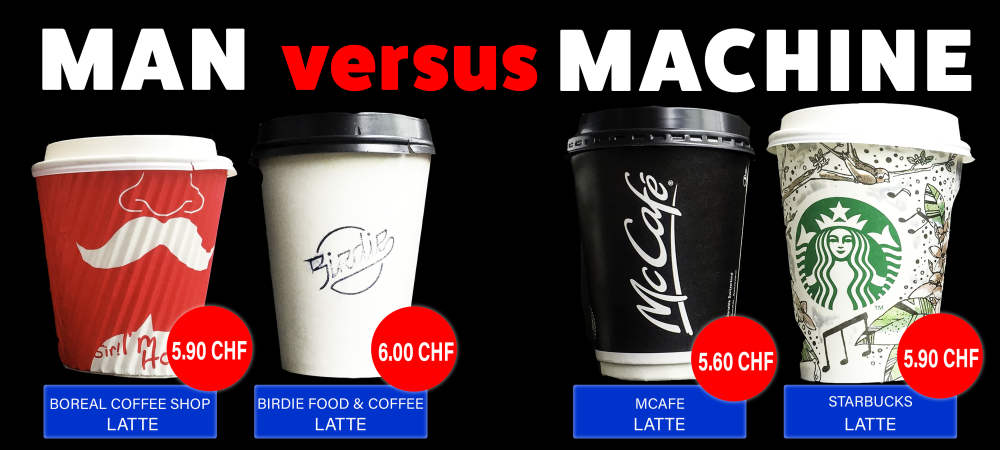 Infographic showing the different prices of coffee to go.