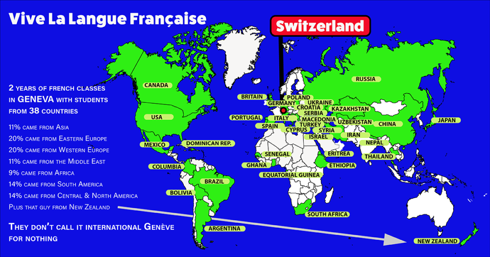 Infographic Map showing the countries of origin of my classmates from French classes in Geneva