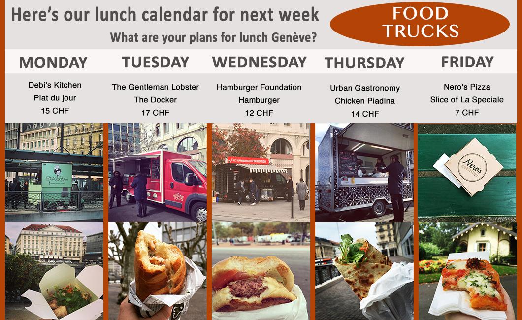Weekly Food truck calendar for Geneva