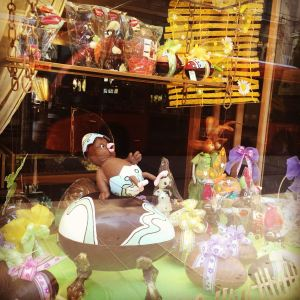 Storefront of Auer swiss chocolatier Easter 2016 Geneva