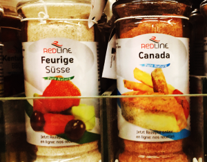 A jar of spice in a supermarket in Geneva, Switzerland that is Canada flavoured.