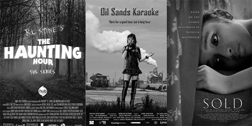 Posters for The Haunting Hour, Oil Sands Karaoke and Sold.