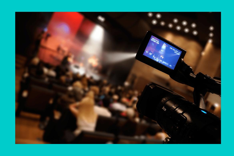 A camera recording a live event